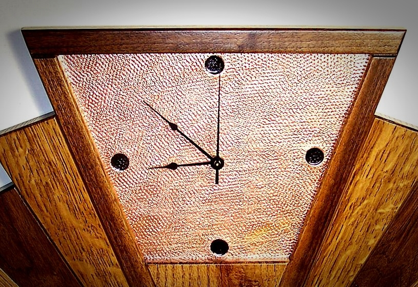 Quarter Sawn Oak Walnut Copper Art Deco Fan Wall Clock