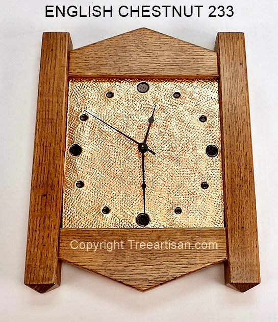 Wall Clock Craftsman Mission Inspired Quarter Sawn Oak Copper